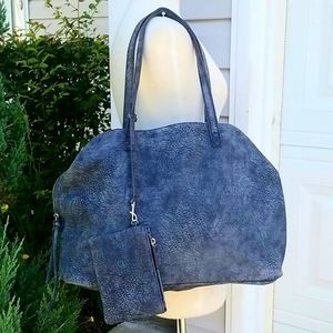 Free People Large Blue Distres Leather Slouchy Bag